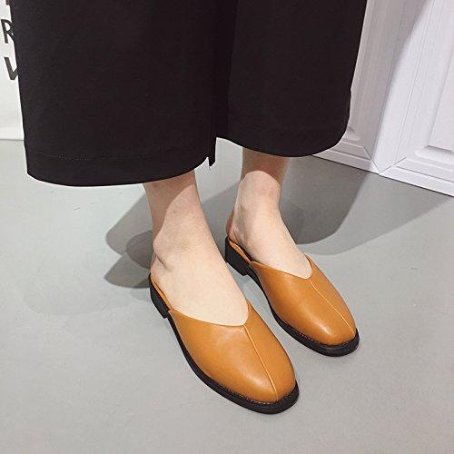 ZYUSHIZ Freizeitaktivitäten Frau reine Farbe baotou Hausschuhe High-Heel Freizeit-sandalen 37