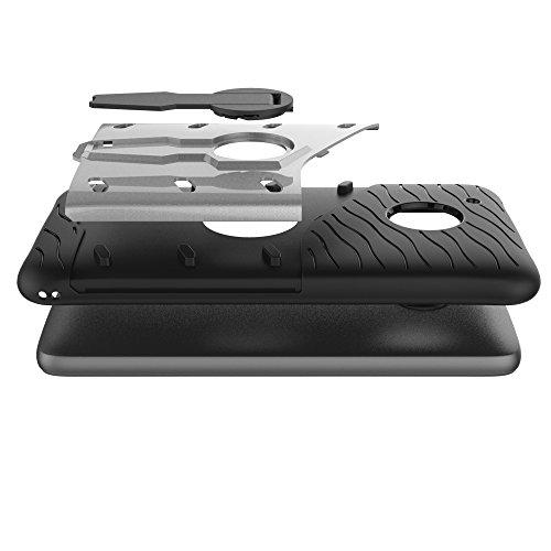Für Moto G5 Fall Neue Rüstung Tough Style Hybrid Dual Layer Rüstung Defender Soft TPU / PC Rückseitige Abdeckung Fall Mit 360 ° Stand [Shockproof Case] ( Color : Red ) Silver