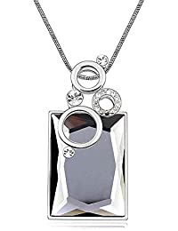Silver Crystal Diamond Accent Perfume bottles Pendant Chain Necklace Made with Swarovski Crystal, with a Gift Box