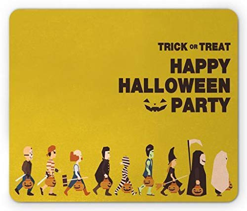 ASKSSD Halloween Mouse Pad, Trick or Treat Halloween Party Pirate Clown Dracula Mummy Frankenstein Witch, Standard Size Rectangle Non-Slip Rubber Mousepad, Multicolor