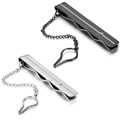 JewelryWe Schmuck Herren Krawattenklammer Krawattennadel Edelstahl Tie Clip, Hochwertige, Silber Schwarz