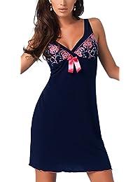 r-dessous Donna Nachtkleid Negligee Sleepshirt Damen Viskose Nachtwäsche Nachthemd mit Träger Babydoll
