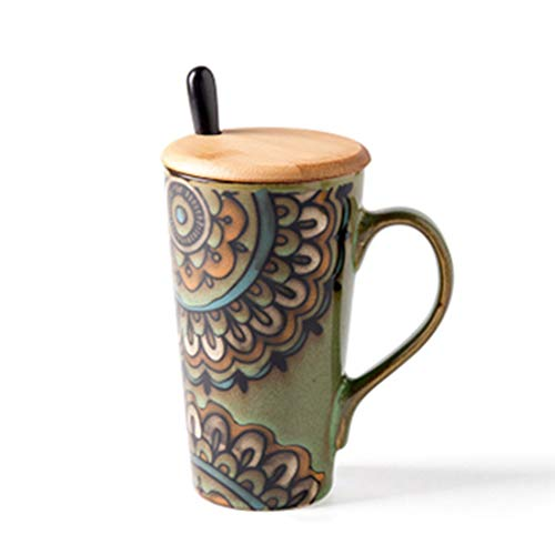 qwdf Cup Keramikbecher mit großem Fassungsvermögen Löffel mitkreative Paar Tasse Deckel bürotasse Milch Tasse für zu Hause Tasse - Gesicht Milch Esel