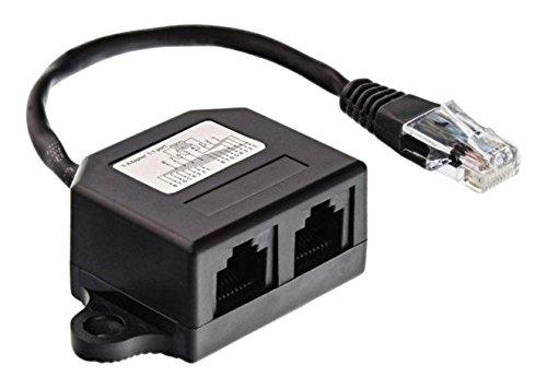InLine 69932B ISDN Verteiler, 2X RJ45 Buchse mit Endwiderständen, montierbar, 15 cm Kabel schwarz