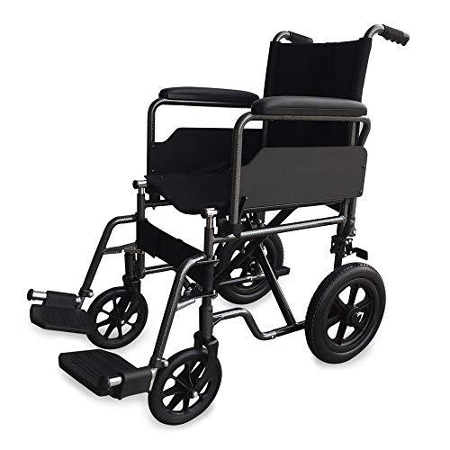 Mobiclinic Silla de Ruedas de Acero S230 Plegable, de Paseo, Manual, para Mayores, para Discapacitados, con Reposapiés y Reposabrazos Extraíbles, Asiento 43 cm