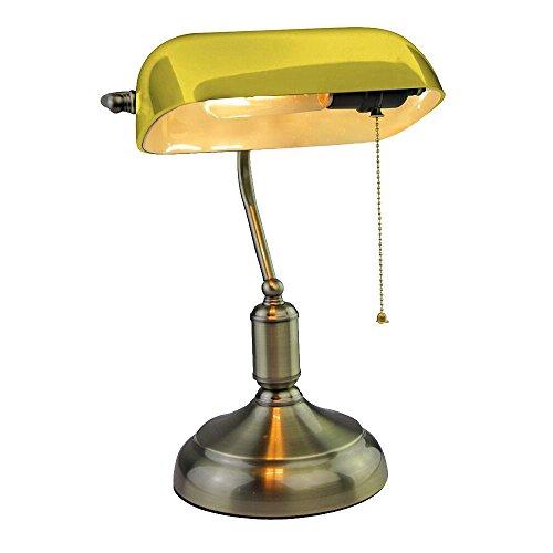 Antike Banker Lampe (Retro Tisch Leuchte Schlaf Gäste Zimmer Banker Glas Lampe Nacht Licht Antik gelb V-TAC 3914)