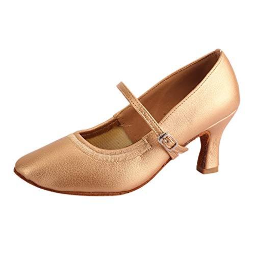 Dorical Damen Tanzschuhe/Mode Latein Hoher Absatz Tanzschuhe mit Schnalle/Solid Walzer Tanzschuhe für Halloween Performance-Schuhe Valentinstag Schuhe (Gold,37 EU)