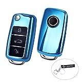 Schlüsselhülle,LANMU 1 Stück Autoschlüssel Schutzhülle Hülle Cover Case für VW Polo Skoda Passat Golf 4/5/6 3 Tasten Schlüssel mit Schlüsselband (Blau)