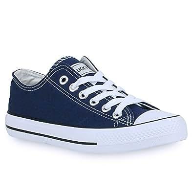 Unisex Damen Herren Sneakers Sportschuhe Schnürer Schuhe 24757 Marineblau Ambler 36 Flandell