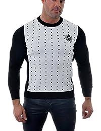 D & R Sweatshirt Mode Jumper Slim Fit Casual Noir Blanc Pixel Motif ras du cou