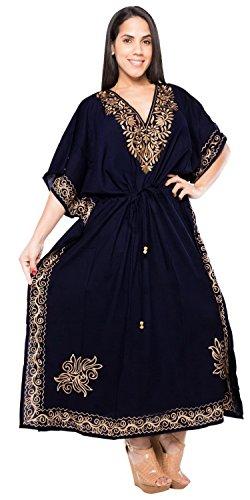 La Leela weicher Viskose komfortabel geräumig und bestickt Frauen langen Kaftan Robe Damen Boho kausalen Bademoden maxi Poncho Marineblau 4