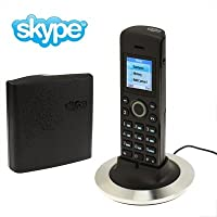 Telefono Skype Dual-modello senza bisogno del PC Cordless Skype e Telefono fisso, supportano due Skype account di accesso, raggio di trasmissione wireless: 50M
