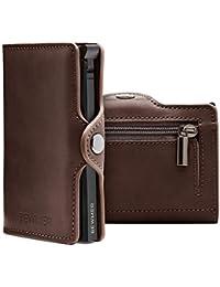 BEWMER Billetera para Tarjetas de crédito Delgada con protección de Cerradura RFID Porta Tarjetas rígido anticontracción y Monedero con Sistema de Bloqueo de Tarjetas anticaída