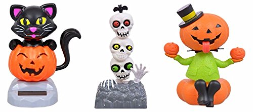 Halloween Solar Dancing Pumpkins, Skull Heads and Black Cat, 3-pc Set by Greenbrier