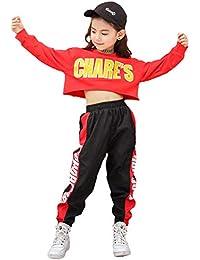 LOLANTA Ropa de Hip Hop para niñas Trajes de Baile Callejero para niños Sudadera Recortada, pantalón de Rayas Laterales, Conjunto de chándal (Rojo, 6-7 años)