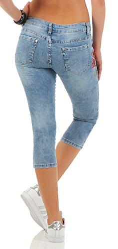 SKUTARI Damen - Skinny Jeanshose Pailletten Strass Blau/Kurz-7/8
