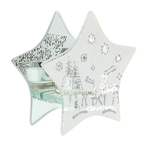 Widdop & Bingham - Porta candela, collezione Holiday Forest a forma di stella con renna, decorazione natalizia in vetro