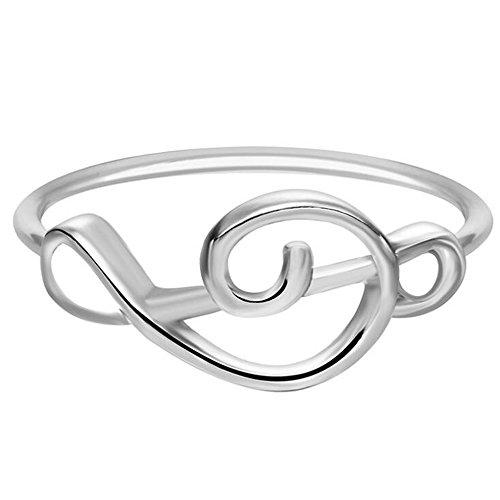 Fengteng Violinschlüssel Ring Damen Fingerring Einfach Musik Note Notenschlüssel Schmuck (Silber)