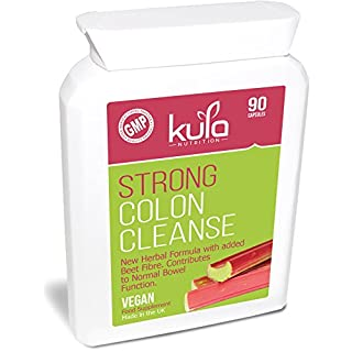 Strong Colon Cleanse & Detox - 90 Capsules - High Strength Effective Herbal Formula - Contains Rhubarb, Glucomannan & Cayenne Powder Plus Beet Fibre Help To Increase Faecal Bulk & Support Normal Bowel Function - Kula Nutrition - Made in the UK to GMP - Suitable for Vegans & Vegetarians.