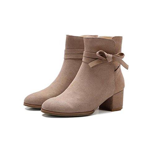 YYH Cuir nubuck Bow tempérament grossier avec le nu féminin dans Ladies court Bootie occasionnels cheville bottes chaussures apricot