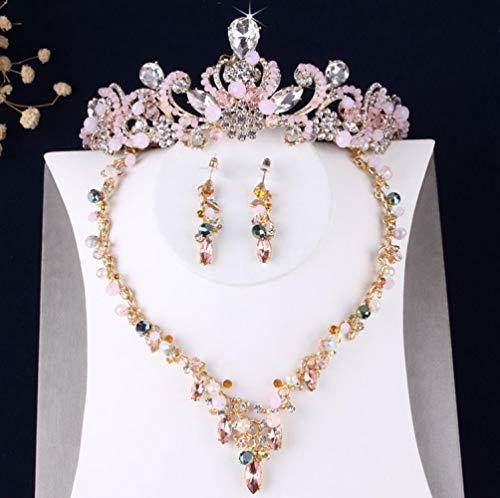 Kostüm Braut Halskette - SSLL Schmuckset Rosa Kristall Perlen Blumen Braut Kostüm Schmuck Sets Halskette Ohrringe Tiaras Set Hochzeit Schmuck