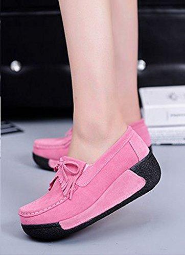 JRenok Mocassins Compensé Femme Loisir Printemps Chaussures Suede Gland Confort Plates Loafers Antidérapante 35-41 Rose