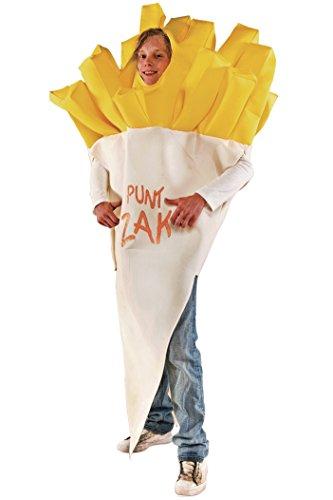 Pommes Kostüm weiß-gelb für Erwachsene mit Aufschrift