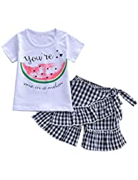 04d9d595955cd Iuhan Baby Suit Summer Cotton Kid Baby Girl Cartoon Fruits Print Tops T  Shirt Striped Plaid