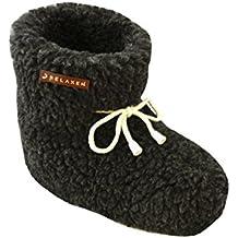 Relaxen Botas cálidas Zapatos de lana de oveja pura y suave Zapatillas para mujeres y hombres de casa de invierno Antideslizante con Encaje Lindo (regalo ideal) Talla 36-45 Modelo XF