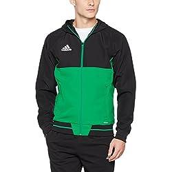 Adidas Tiro 17 Presentation Chaqueta Deportiva Impermeable Para Hombre Color Negro/Verde Azul Tamaño XL