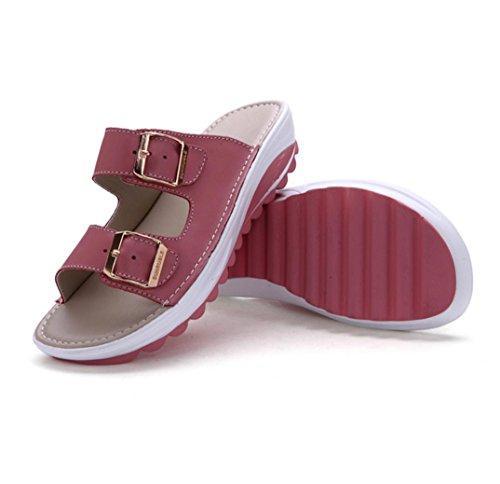 WZG New chaussures d'été en cuir confortables sandales plates souples bas étudiants sandales et pantoufles pour les femmes Red