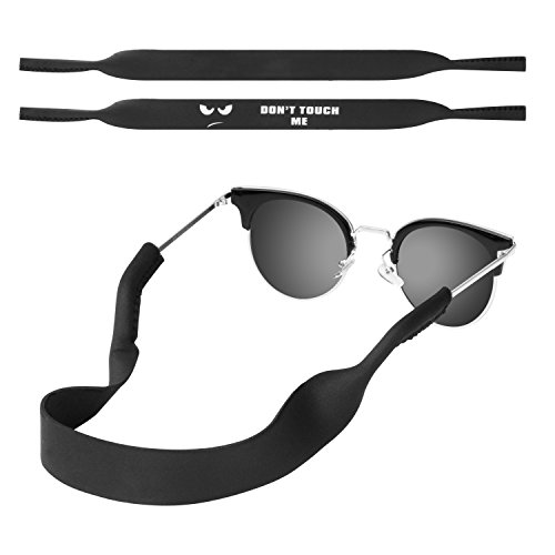 MoKo Neoprene Eyewear Retainer, [2 Pack] Universal Fit No Tail Sports Sunglasses Retainer, Sunglass Strap Safety Glasses Holder for Kids, Men, Women - Black & Don't Touch Me
