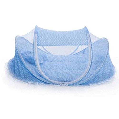 3pcs Tente Moustiquaire Bébé Pliant Matelas et Oreiller pr Lit de Bébé Rose/Bleu - Bleu, /