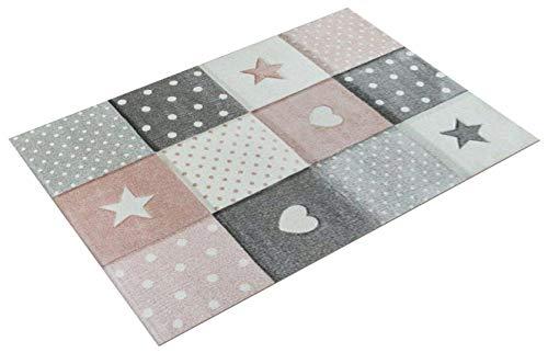 Tappeto per Bambini Colori Pastello Quadri Punti Cuori Stelle Bianco Grigio Rosa, Dimensione:120x170 cm