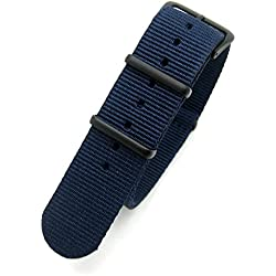 Dark Blue Infantry Military MoD NATO Nylon Fabric GENERIC G10 4 Rings Watch Strap Band Black Buckle