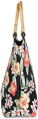 Küstenluder CARLIE Vintage HIBISCUS Frangipani 50s Bamboo TASCHE Rockabilly Schwarz mit Vintage Blüten