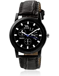 Watch Me Black Dial Black Leather Strap Watch For Boys WMC-003
