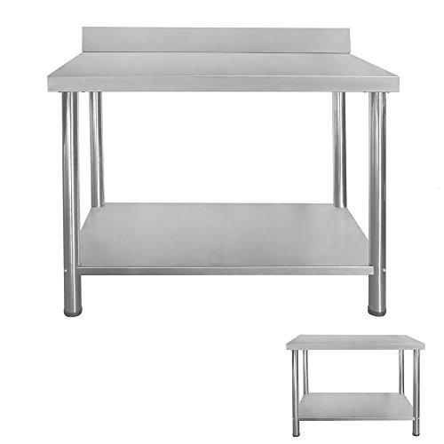 Gastro Edelstahltisch Edelstahl Arbeitstisch Küchentisch Höhenverstellbar mit/ohne Aufkantung Größenwahl V2Aox ,...
