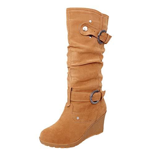 Bottes de Neige,Subfamily Bottes De Femme Daim Stiletto Talons Haut Sexy Boots Automne Hiver Mode Casual Chaussures Bottes Longues Bottes Chelsea Talon Chic Compensées Grande Taille