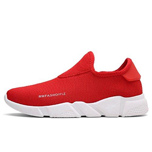 Atmungsaktiv Lässige Schuhe Tuchschuhe Gemütlich Licht Elastizität Lazy Schuhe Red