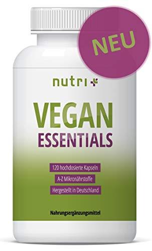 VEGAN ESSENTIALS 120 Kapseln - Complete Präparat für Veganer - Nutri-Plus Daily mit Vitamin B12, D3, Eisen, Omega 3 (Chlorella) - Mineralien & Vitamine hergestellt in Deutschland