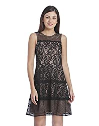 ONLY Womens A-Line Synthetic Mini Dress (1834342003_Black_38)
