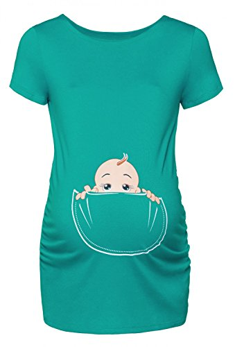 Happy Mama. Damen Baby in der Tasche T-Shirt Top Oberteil für Schwangere. 501p (Teal, EU 42/44, XL)
