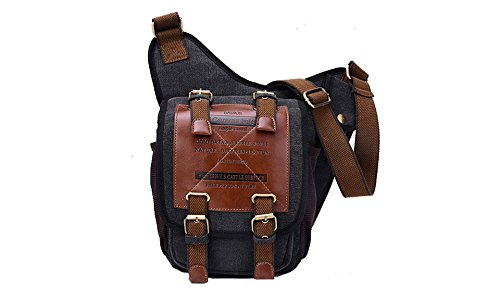 UniqStore Herren Jugendliche Retro Segeltuch Schultere Brust Military Messenger Bag Sling Schule Tasche Kaffebraun Schwarz