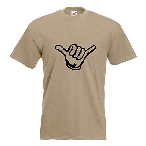 KIWISTAR - Hang loose - Alles locker - Shaka T-Shirt in 15 verschiedenen Farben - Herren Funshirt bedruckt Design Sprüche Spruch Motive Oberteil Baumwolle Print Größe S M L XL XXL Khaki