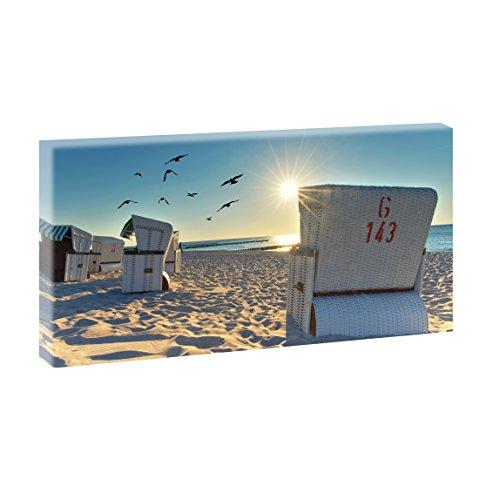 Strandkörbe am Strand | Panoramabild im XXL Format | Poster | Wandbild | Fotografie | Trendiger Kunstdruck auf Leinwand | Verschiedene Farben und Größen (40 cm x 80 cm, Farbig)