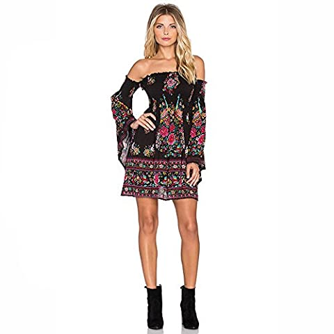 Years Calm Womens Sexy Bohemian Casual Chest Wrapped Strapless Speaker sleeves Dress Seaside Vacation Beach Dresses (One size, A)