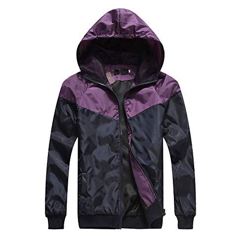 Xmiral Herren Casual Patchwork Langarm Reißverschluss Sweatshirt Hoodie Mantel Top (L,Violett)