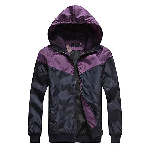 ZIYOU Herren Dünn Softshell Jacke Herbst Outdoor Freizeit Sport Jacke mit Kapuze Fitness Wanderjacke (EU-46 / CN-M,Violett)