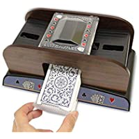 SUNSETGLOW Card Shuffler Poker Table Poker Naipes Shuffler de Cartas de Madera, Naipes Shuffler Card Card Clasificador de Tarjetas de Madera, para Poker Rummy